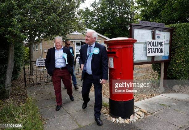 Brexit Party candidate Mike Greene leaves a polling station at Peakirk Village Hall on June 06 2019 in Peterborough England Brexit Party candidate...