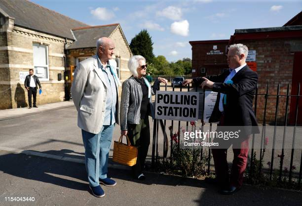 Brexit Party candidate Mike Greene speaks to supporters outside the polling station at St Luke's Church on June 06 2019 in Peterborough England...
