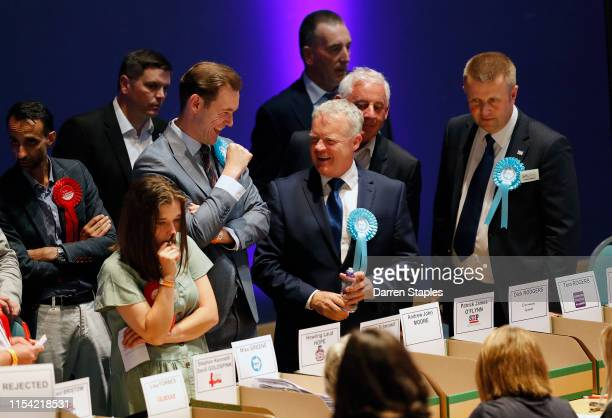 Brexit Party candidate Mike Greene watches the byelection count on June 07 2019 in Peterborough England Brexit Party candidate Mike Greene is looking...