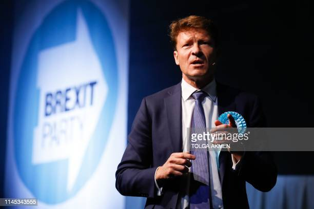 Brexit Party Chairman Richard Tice addresses a European Parliament election campaign rally at Olympia London west London on May 21 2019