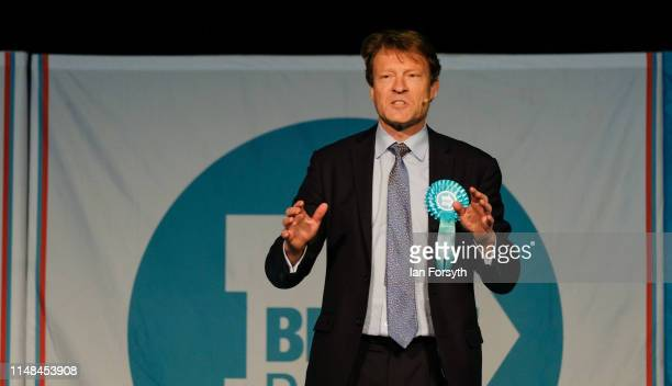 Brexit Party Chairman Richard Tice introduces speakers during a Brexit Party campaign event at Rainton Meadows Arena in Houghton Le Spring on May 11...