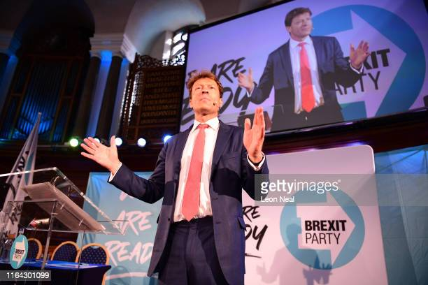 Brexit Party chairman Richard Tice speaks onstage on August 27, 2019 in London, England. The Brexit Party conference held at the Emmanuel Centre is...