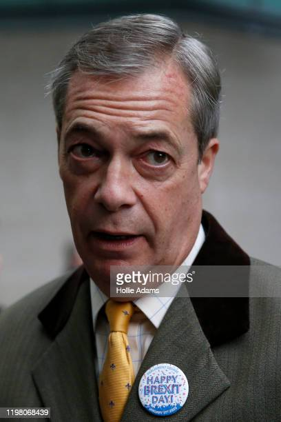 Brexit Party leader and former MEP, Nigel Farage arrives to appear on the Andrew Marr Show at BBC Television Centre on February 2, 2020 in London,...