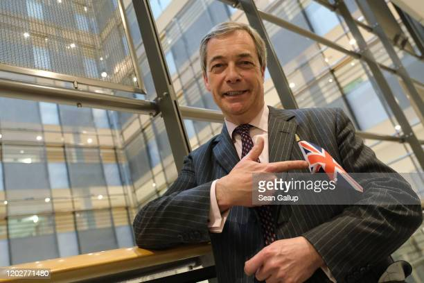 Brexit Party leader and member of the European Parliament Nigel Farage poses for a photo while taking a break during a session of the European...