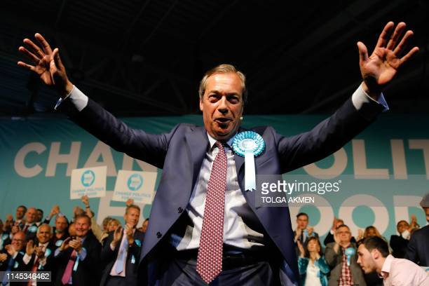 Brexit Party leader Nigel Farage addresses a European Parliament election campaign rally at Olympia London west London on May 21 2019