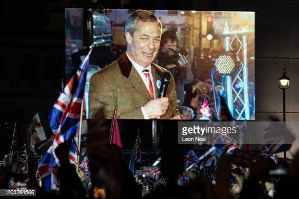 Brexit Party leader Nigel Farage addresses Pro Brexit supporters as the United Kingdom prepares to exit the EU during the Brexit Day Celebration...
