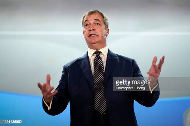 Brexit party leader Nigel Farage addresses supporters at a Brexit party campaign event in Buckley on December 02 2019 in Buckley Wales Political...
