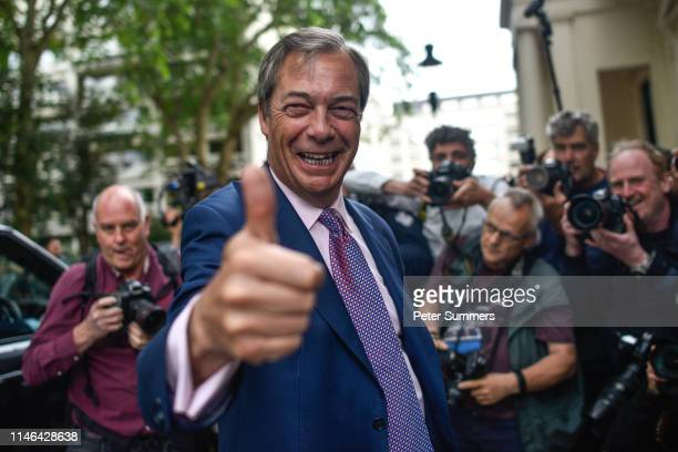 Brexit Party leader Nigel Farage arrives at a Brexit Party event on May 27 2019 in London England The Brexit party won 10 of the UK's 11 regions...