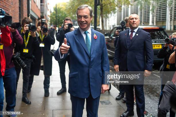 Brexit Party leader Nigel Farage arrives at The Emmanuel Centre on November 1 2019 in London England Mr Farage launched the Brexit Party's manifesto...
