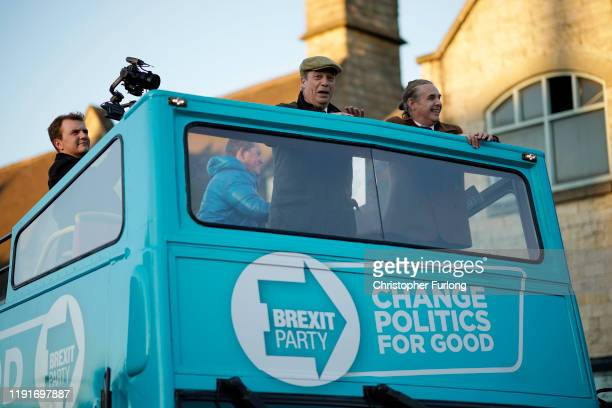 Brexit Party leader Nigel Farage campaigns on the party battle bus in Bolsover during election campaigning on December 03 2019 in Bolsover England...