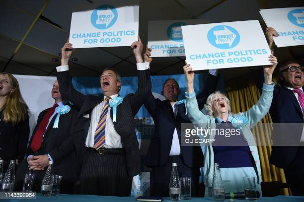 Brexit Party leader Nigel Farage candidate Ann Widdecombe and other candidates pose with placards at a European Parliament election campaign event in...
