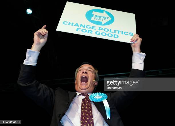 Brexit Party leader Nigel Farage delivers a speech during a Brexit Party campaign event at Rainton Meadows Arena on May 11 2019 in Houghton Le Spring...