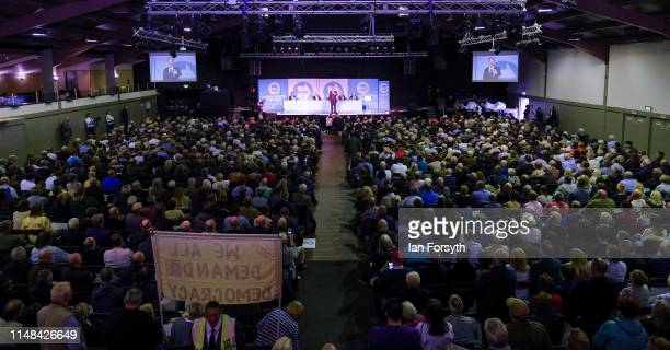 Brexit Party leader Nigel Farage delivers a speech during a campaign at Rainton Meadows Arena on May 11 2019 in Houghton Le Spring United Kingdom The...