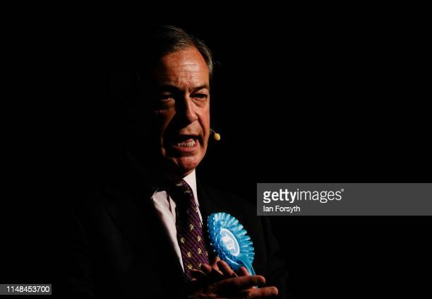 Brexit Party leader Nigel Farage delivers his speech during a Brexit Party campaign event at Rainton Meadows Arena in Houghton Le Spring on May 11...