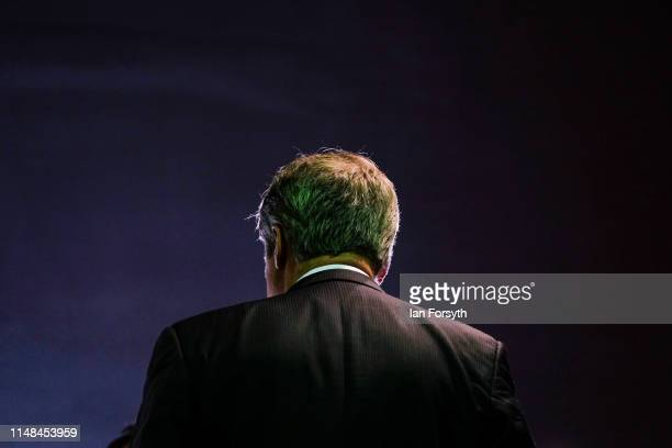 Brexit Party leader Nigel Farage gives a media interview during a Brexit Party campaign event at Rainton Meadows Arena in Houghton Le Spring on May...