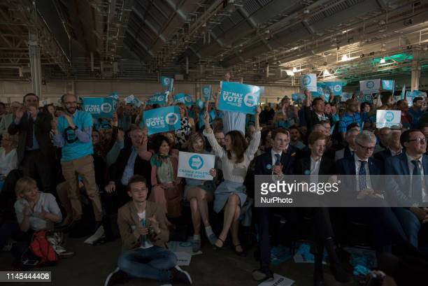 Brexit Party leader Nigel Farage holds addresses the party conference ahead of the European Election London on May 21 2019