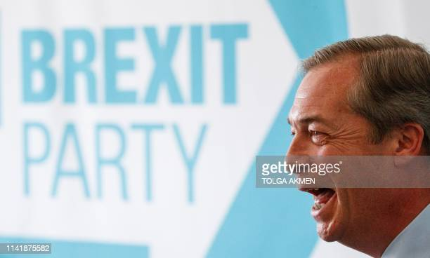Brexit Party leader Nigel Farage Member of the European Parliament speaks at a press conference regarding the party's European Parliament election...
