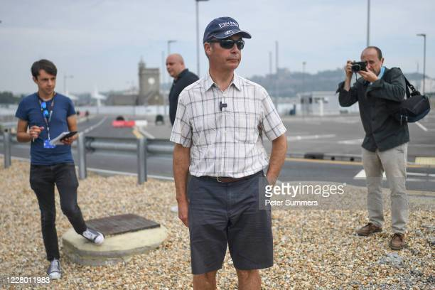 Brexit Party leader Nigel Farage on August 12, 2020 in Dover, England. Favourable weather conditions in recent weeks have led to a rise in people...
