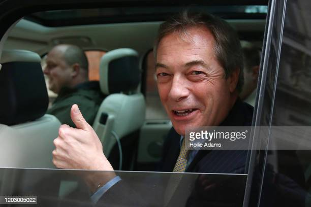 Brexit Party Leader Nigel Farage outside Millbank studios on January 30, 2020 in London, United Kingdom. At 11.00pm on Friday 31st January the UK and...