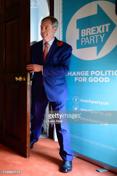 Brexit Party leader Nigel Farage prepares to speak to journalists and supporters as the party announces the latest candidates for the possible...