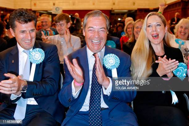 Brexit Party leader Nigel Farage reacts after the European Parliament election results for the UK South East Region are announced at the Civic Centre...