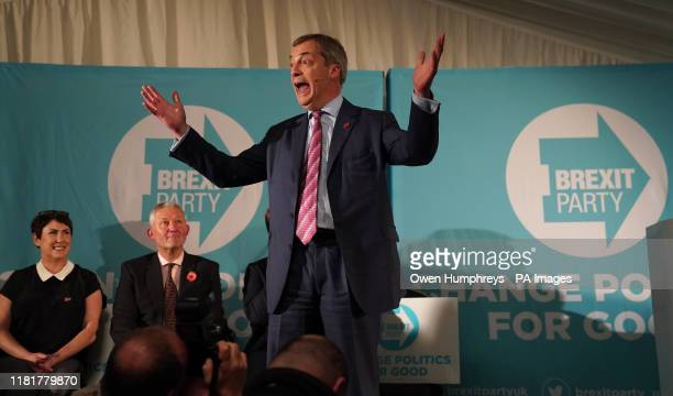 Brexit Party leader Nigel Farage speaking at a party rally in Sedgefield