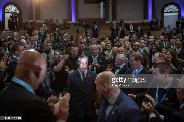 Brexit Party leader Nigel Farage speaks ahead of Brexit Party members being introduced on November 4 2019 in London England The Brexit party plans to...