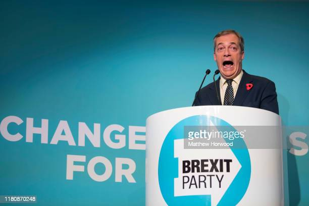 Brexit Party leader Nigel Farage speaks during the Brexit Party general election campaign tour at the International Convention Centre on November 8...