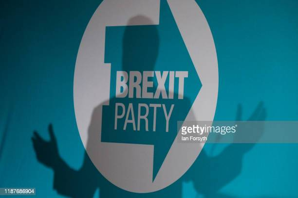 Brexit Party leader Nigel Farage speaks during the Brexit Party general election campaign tour at Grimsby Town Football Club on November 14 2019 in...