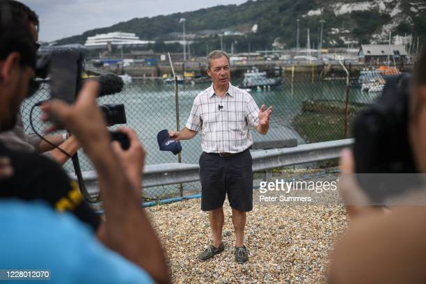 Brexit Party leader Nigel Farage speaks to supporters and media on August 12, 2020 in Dover, England. Favourable weather conditions in recent weeks...
