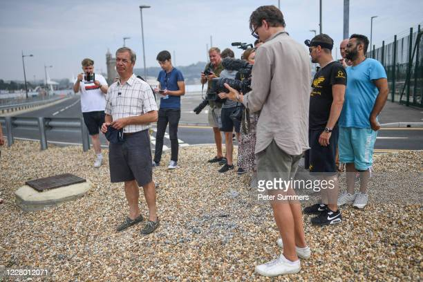 Brexit Party leader Nigel Farage speaks to supporters and media on August 12 2020 in Dover, England. Favourable weather conditions in recent weeks...