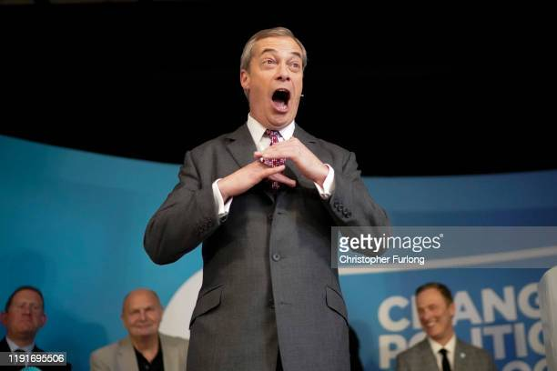 Brexit Party leader Nigel Farage speaks to supporters at Barnby Memorial Hall during election campaigning on December 03 2019 in Worksop England...