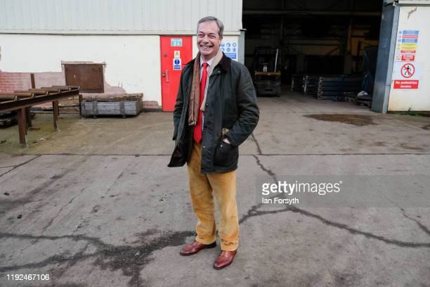 Brexit Party leader Nigel Farage speaks to the media during a visit to the Tolley Fabrications factory as he campaigns in Sedgefield on December 07...