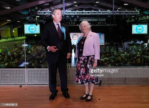 Brexit Party leader Nigel Farage stands with Anne Widdecombe during a Brexit Party campaign event at Rainton Meadows Arena in Houghton Le Spring on...