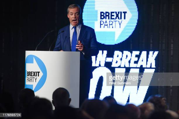 Brexit Party leader Nigel Farage talks at a Brexit Party rally on October 18 2019 in London England