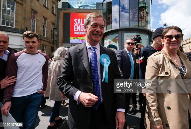 Brexit Party leader Nigel Farage visits Northumberland Street in Newcastle Upon Tyne during a whistle stop UK tour on May 20 2019 in Newcastle Upon...