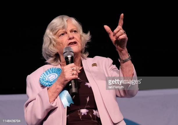 Brexit Party member Ann Widdecombe delivers a speech during a Brexit Party campaign at Rainton Meadows Arena on May 11 2019 in Houghton Le Spring...