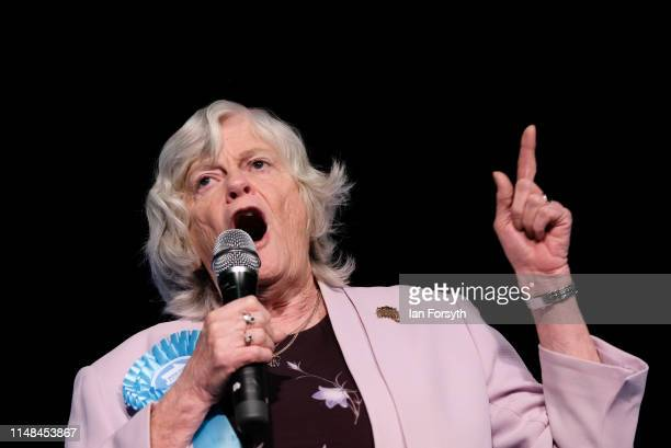 Brexit Party member Ann Widdecombe delivers a speech during a Brexit Party campaign event at Rainton Meadows Arena in Houghton Le Spring on May 11...