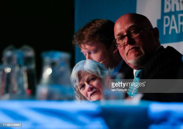 Brexit Party member Ann Widdecombe listens to party leasder Nigel Farage as he delivers his speech during a Brexit Party campaign at Rainton Meadows...