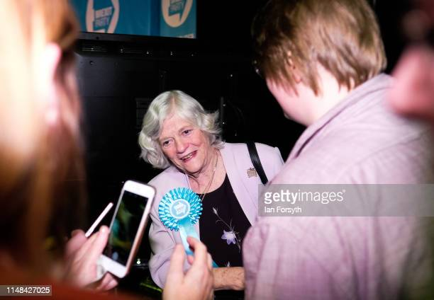 Brexit Party member Ann Widdecombe meets members of the audience as she leaves the stage following her speech at a Brexit Party campaign at Rainton...
