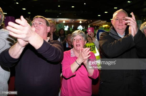 Brexit Party member Ann Widdecombe receives a standing ovation as she heads to the stage to deliver her speech during a Brexit Party campaign at...