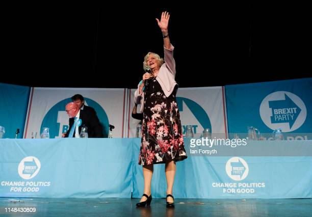 Brexit Party member Ann Widdecombe waves to supporters during a Brexit Party campaign speech at Rainton Meadows Arena on May 11 2019 in Houghton Le...