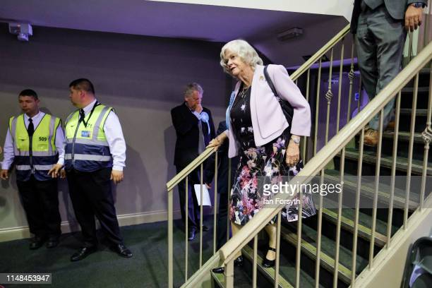 Brexit Party member Anne Widdecombe prepares to walk on stage to deliver a speech during a Brexit Party campaign event at Rainton Meadows Arena in...