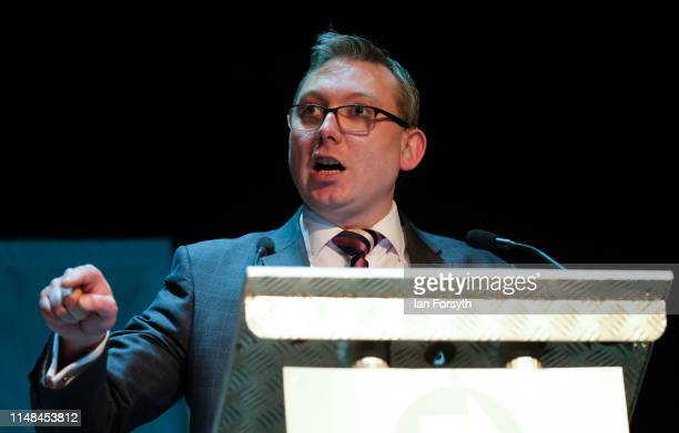 Brexit Party MEP candidate John Tennant delivers his speech during a Brexit Party event at Rainton Meadows Arena in Houghton Le Spring on May 11 2019...