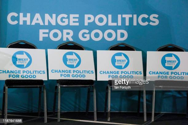 Brexit party placards are placed on seats ahead of a Brexit Party general election campaign tour at Hull Ionians Rugby Union Football Club on...
