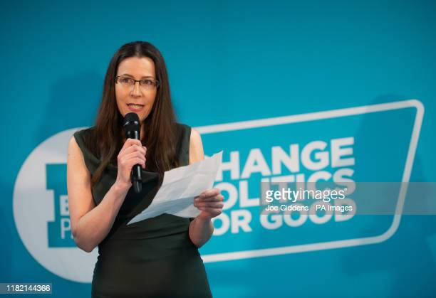 Brexit Party Prospective Parliamentary Candidate for West Ham Emma Stockdale during a party rally at the Gator ABC Boxing Club, in Hainault, Ilford,...