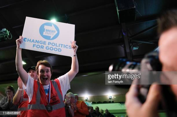 Brexit Party supporter reacts to a photograapher during a Brexit Party event at Rainton Meadows Arena in Houghton Le Spring on May 11 2019 in Durham...