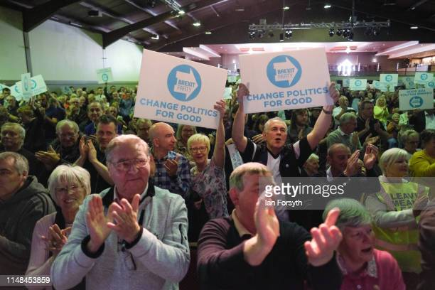Brexit Party supporters react to speeches during a Brexit Party event at Rainton Meadows Arena in Houghton Le Spring on May 11 2019 in Durham United...