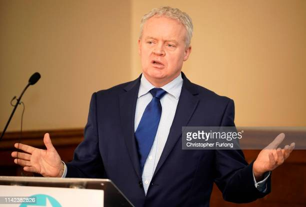 Brexit Party's Mike Greene speaks after he is announced as the party's Peterborough constituency byelection candidate on May 09 2019 in Peterborough...