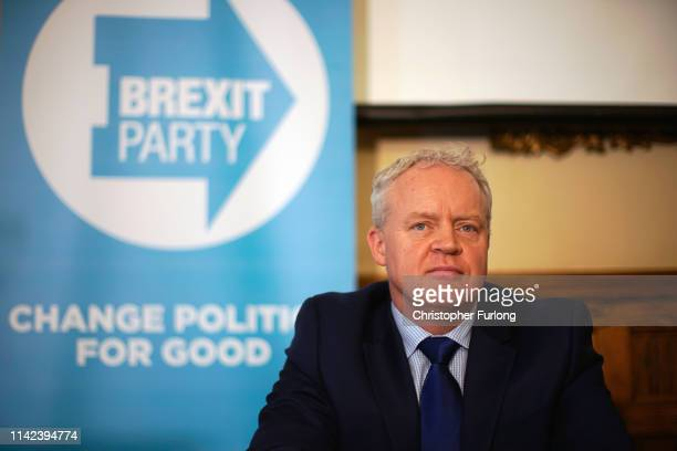 Brexit Party's Mike Greene takes part in a press conference after he is announced as the party's Peterborough constituency byelection candidate on...